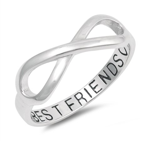 Infinity Best Friends Heart Ring .925 Sterling Silver Friendship Band Size