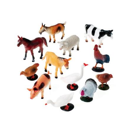 Farm Animal Miniatures Set Diorama Recreation 12 Pack - Farm Animal Toys
