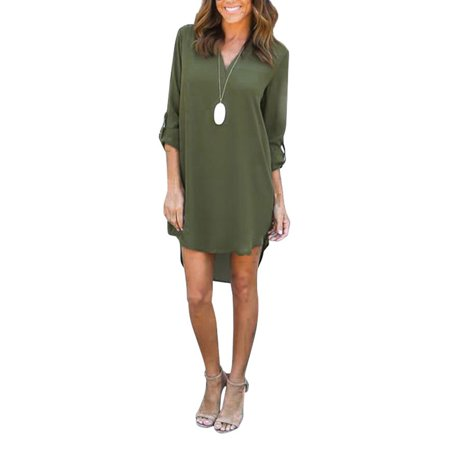 Chiffon Shirt Dresses Women Plus Size Long Roll-Up Sleeve V-Neck Oversized Loose Tunic Tops Irregular High Low Blouse