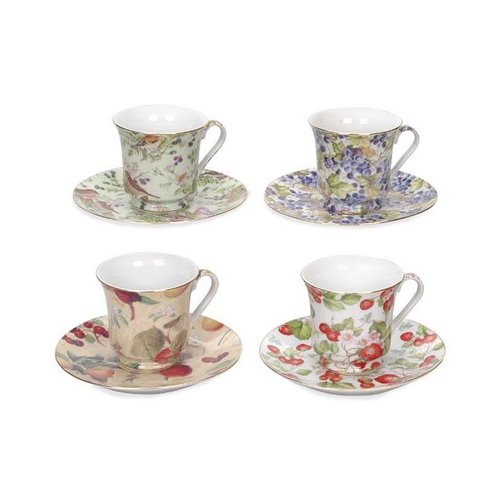 August Grove Cousins All Over Fruit and Flowers Trim 12 Piece Tea Cup and Saucer Set (Set of 6) (Set of 2)