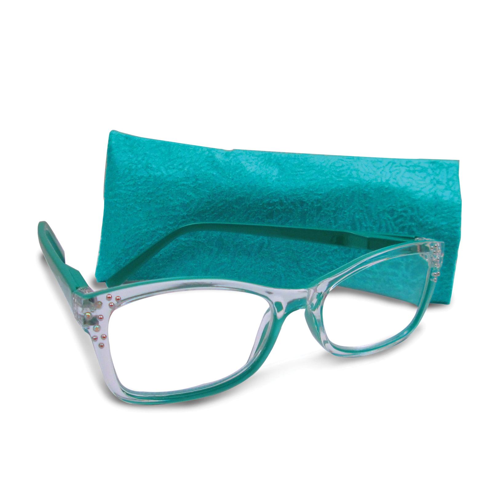Green 1.25 Magnification Rhinestone Reading Glasses