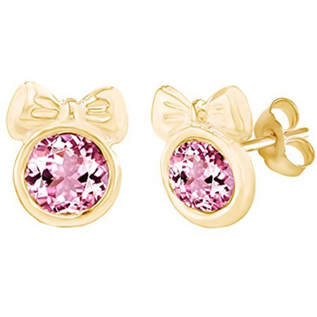 Round Shape Simulated Pink Tourmaline Minnie Mouse Bow Stud Earrings 14K Yellow Gold Over Sterling Silver ()