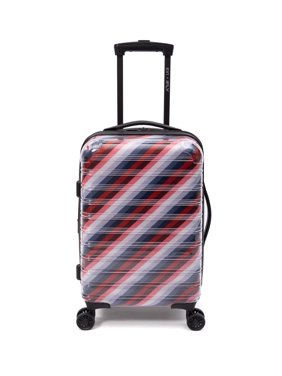 "EV1 x iFLY Hardside Fibertech Carry-on Luggage 20"" Suitcase with See Through Exterior and Striped Interior Lining"