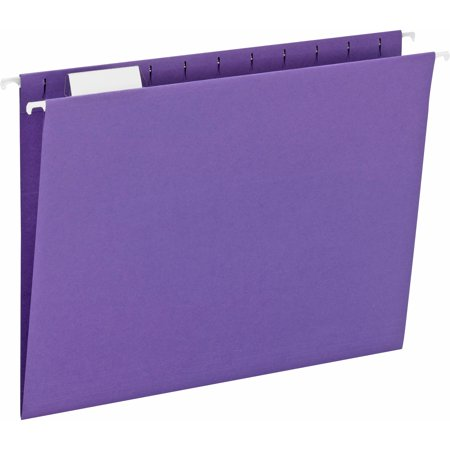 - Smead Hanging File Folder with Tab, 1/5-Cut Adjustable Tab, Letter Size, Purple, 25 per Box (64072)