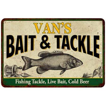 VAN'S Bait & Tackle Personalized Metal Sign Man Cave 8x12 - Vans Personalized
