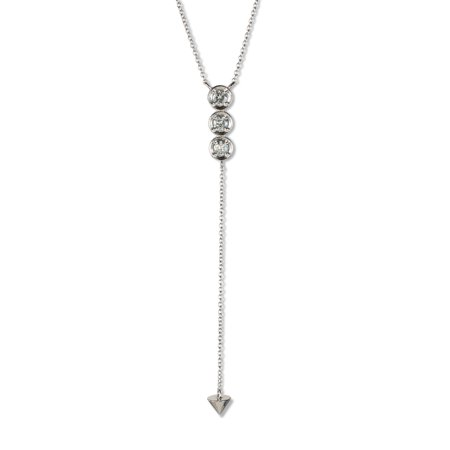 Charles & Colvard Forever Classic Round 3.25mm Moissanite Three Stone Drop Necklace, 0.39cttw DEW