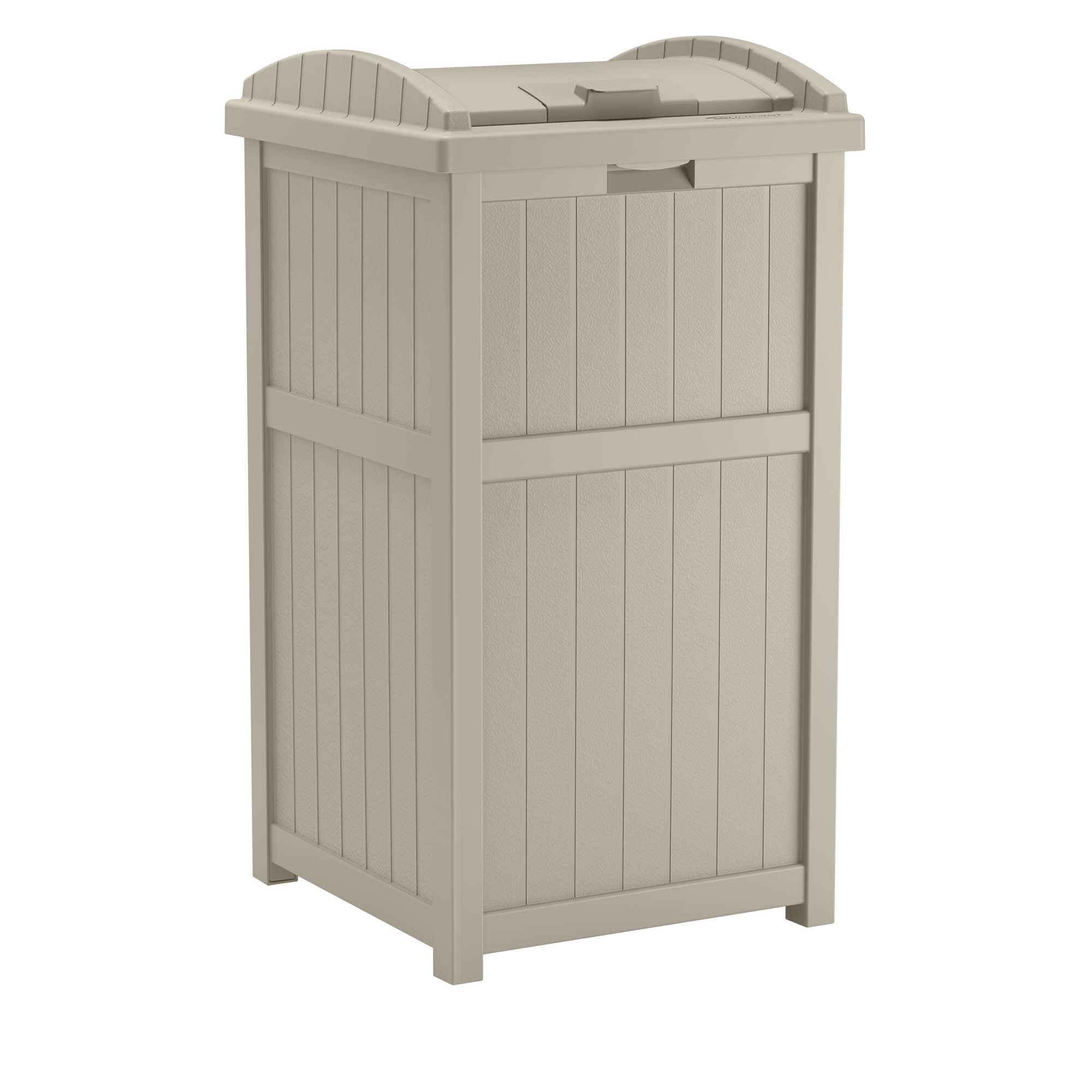 Suncast 33 Gallon Outdoor Hideaway Trash Container For Patio Taupe Walmart Com Walmart Com