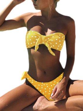 5d03972ec53f7 Product Image Women's Polka Dot Swimwear Bikini Set Push-up Padded Bra Bathing  Suit Swimsuit