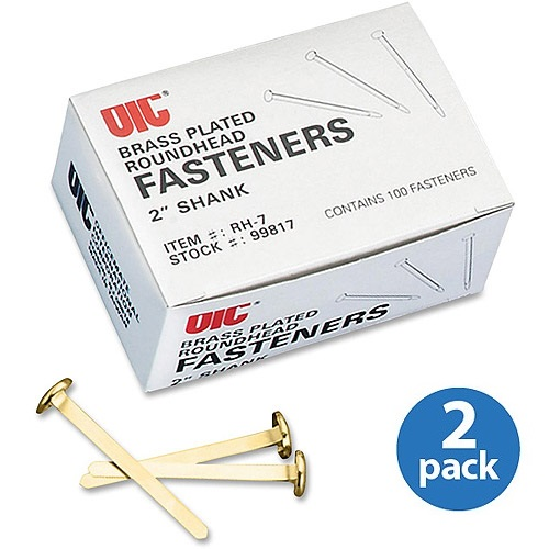 (2 Pack) OIC Brass Plated Round Head Fasteners, Brass, 100 / Box (Quantity)