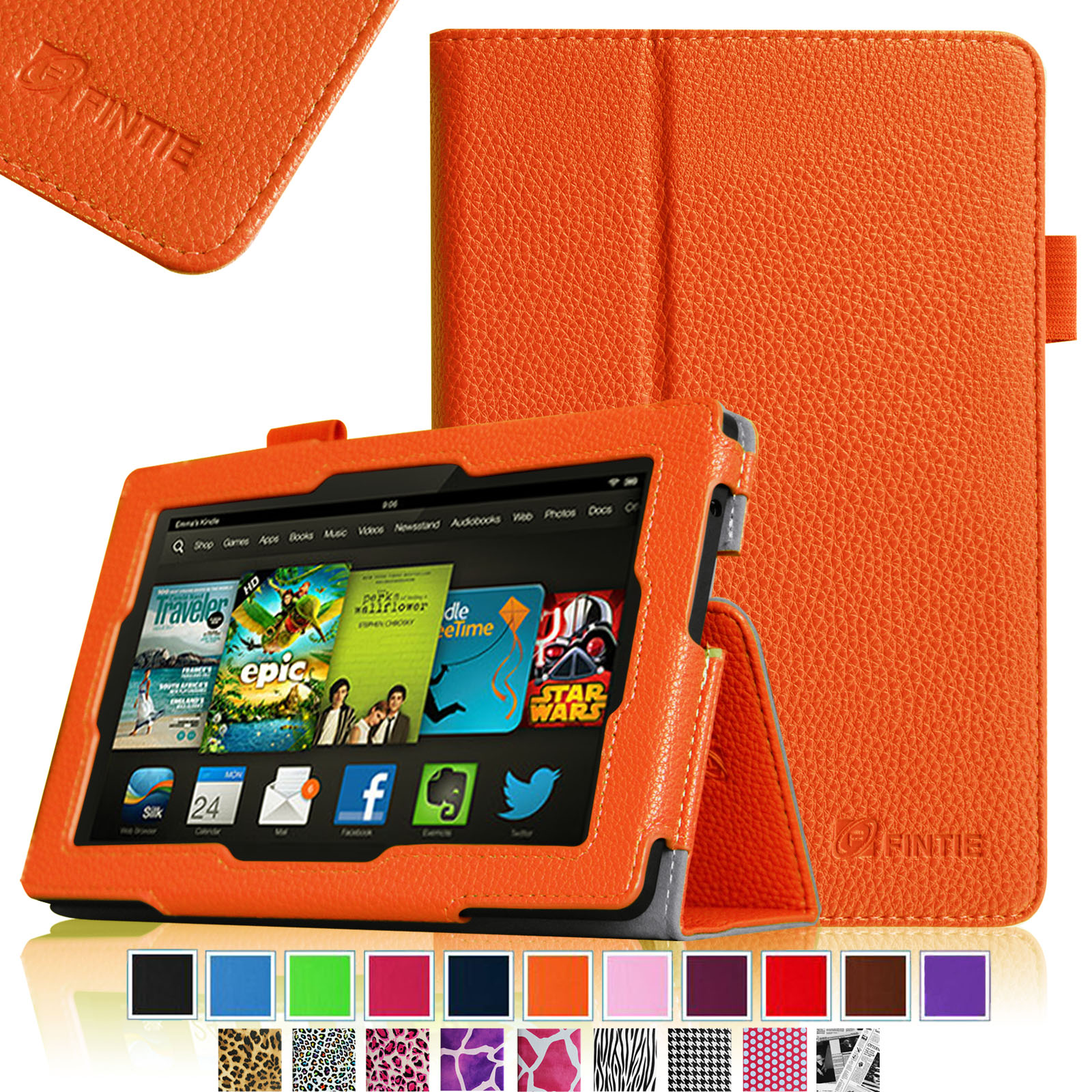 "Fintie Kindle Fire HD 7"" Tablet (2013 Old Model) Slim Fit Folio Case with Auto Sleep / Wake Feature, Orange"
