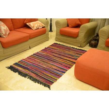 Multi Color 4x5 ft Area Rugs Cotton Carpet (42\'\'x 66\'\') Handmade Black  Living Room Dining Bedroom Kidsroom Red Rug by MystiqueDecors