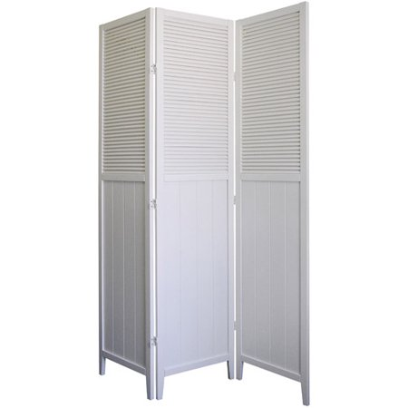 ORE International Shutter Door 3 Panel Room Divider White