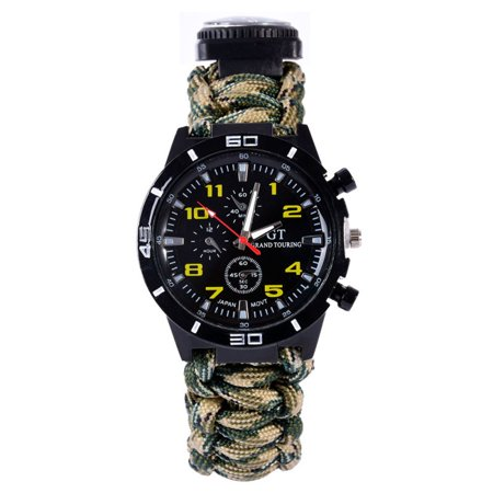 Survival Bracelet Men Women Emergency Watch Compass Whistle Fire Starter Analog Watches Survival Gear Water Resistant Adjustable