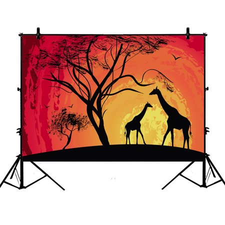 YKCG 7x5ft African Safari Animal Tree of Life Sunset Giraffe Photography Backdrops Polyester Photography Props Studio Photo Booth Props](Jungle Safari Backdrop)