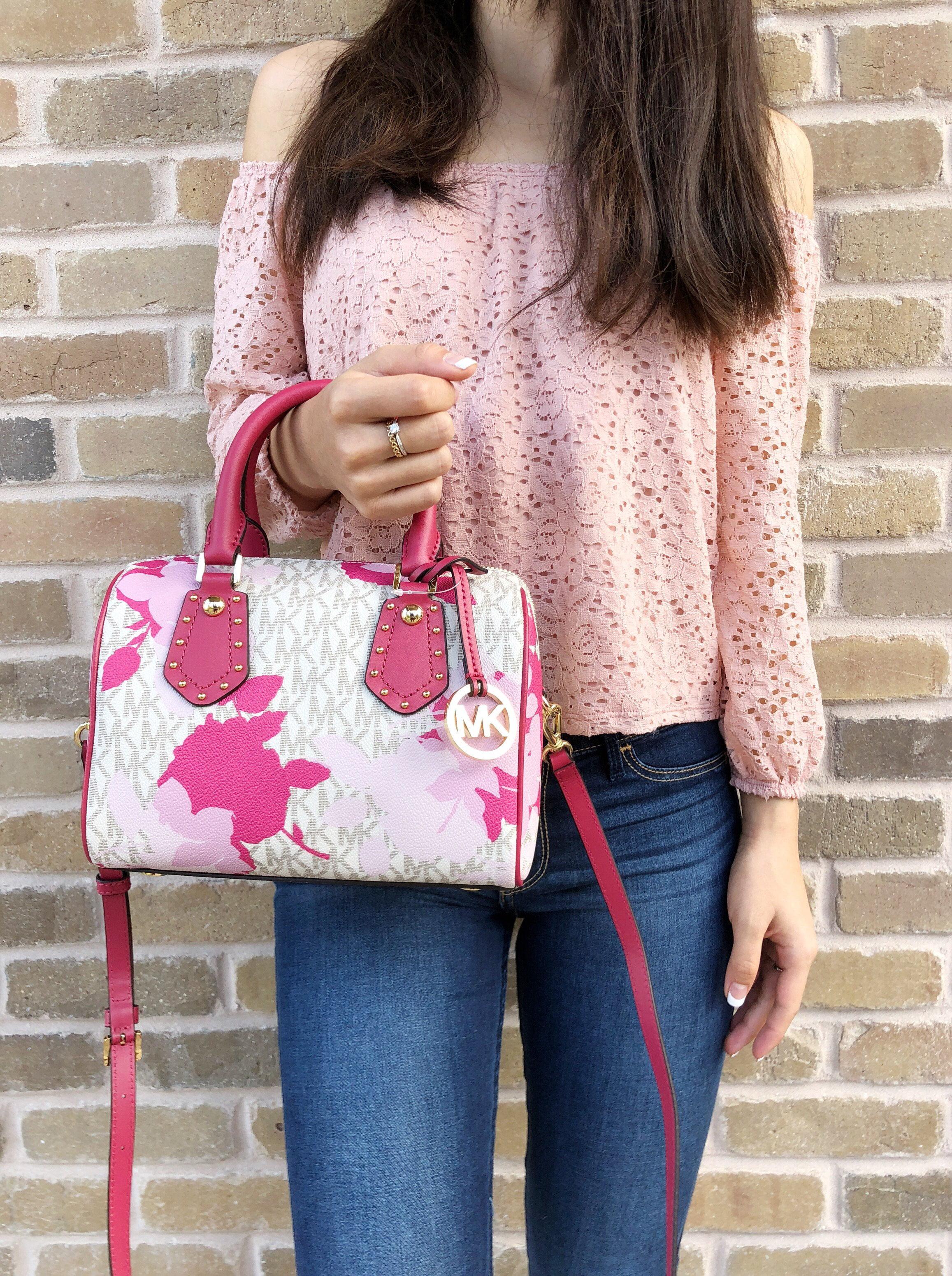 70cf4e321eaa Michael Kors - NWT Michael Kors Aria Small Top Zip Satchel Crossbody Vanilla  MK Pink Floral - Walmart.com