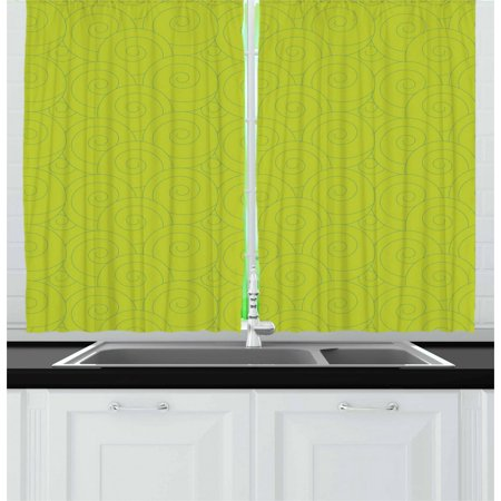 Abstract Curtains 2 Panels Set, Vibrant Color Curls Random Arrangement Japanese Waves Inspired Design, Window Drapes for Living Room Bedroom, 55W X 39L Inches, Yellowgreen and Blue, by Ambesonne