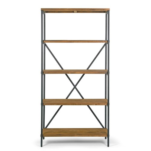 """Ailis 67"""" Brown Pine Wood Shelf Etagere Bookcase Media Center with Metal Frame by"""