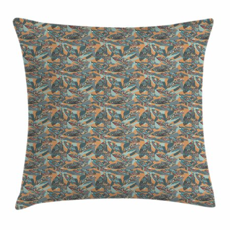 Abstract Throw Pillow Cushion Cover, Funky Leaves with Paintbrush Marks Earthy Tones Retro Style Garden Fashion Graphic, Decorative Square Accent Pillow Case, 18 X 18 Inches, Multicolor, by