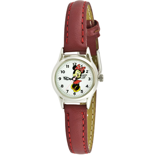 Disney Women's Minnie Mouse Molded-Hands Petite Red Watch, Genuine-Leather Strap