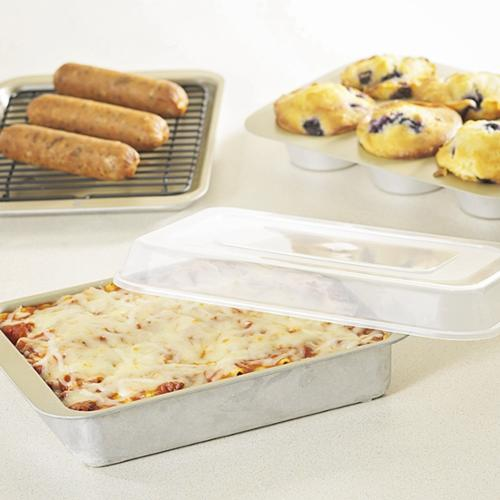 Nordic Ware 5 Pc Compact Ovenware Set - Baking Sheet, Broiling Rack, Casserole, Muffin Pan, Lid - Aluminized Steel, Plastic Lid - Bakeware Set - For Baking, Broiling, Serving, Cooking - No - (43215)