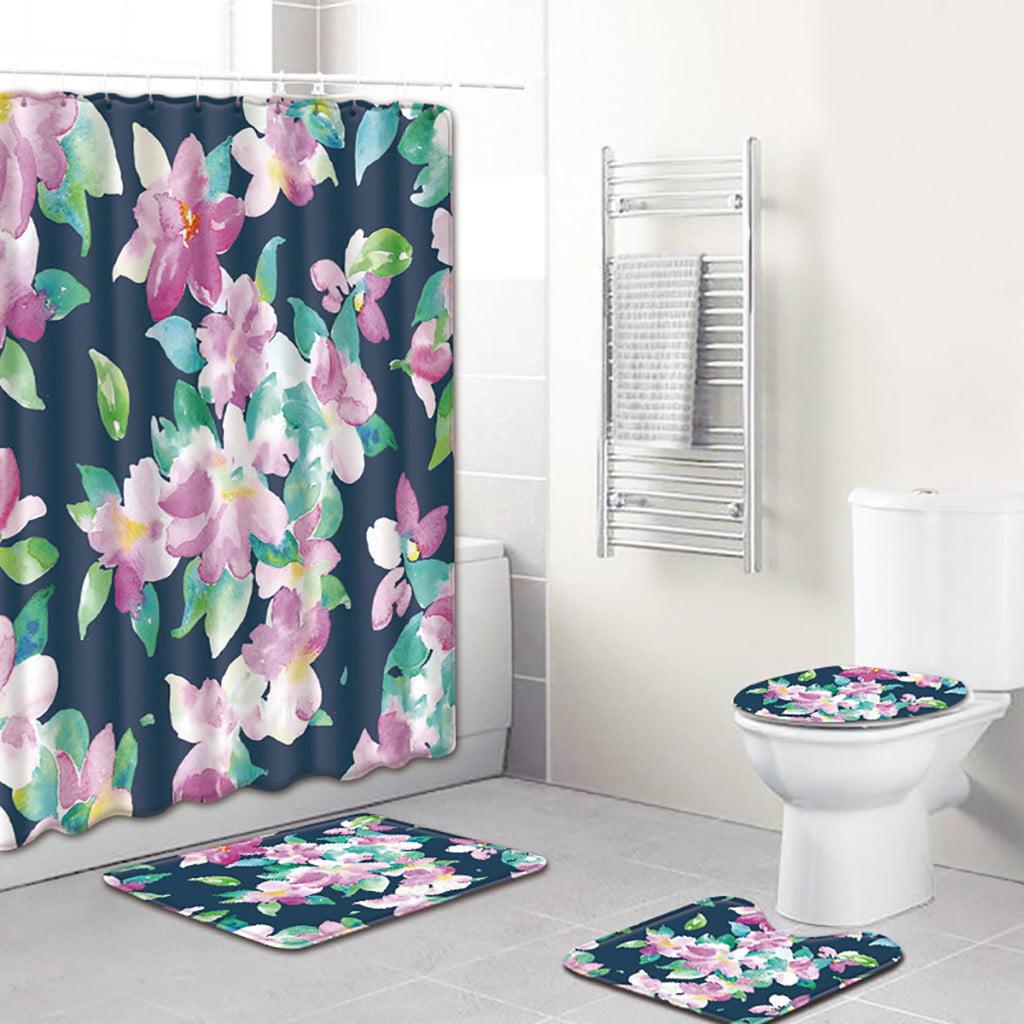 Jcxagr 4pcs Sea Style Non Slip Toilet Polyester Cover Mat Set Bathroom Shower Curtain 17 X29 70 X70 Walmart Com Walmart Com