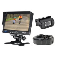 PYLE PLCMTR71 - Weatherproof Rearview Backup Camera System Kit with 7 LCD Color Monitor, IR Night Vision Camera, Dual DC Voltage 12-24 for Bus, Truck, Trailer, Van