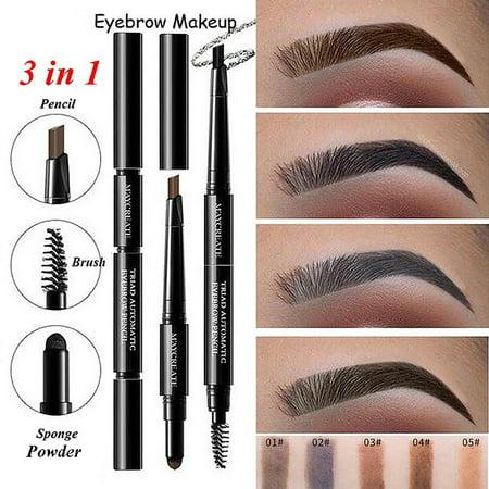 3 In 1 Waterproof Eyebrow Pencil Powder Eye Brow Brush Pigment