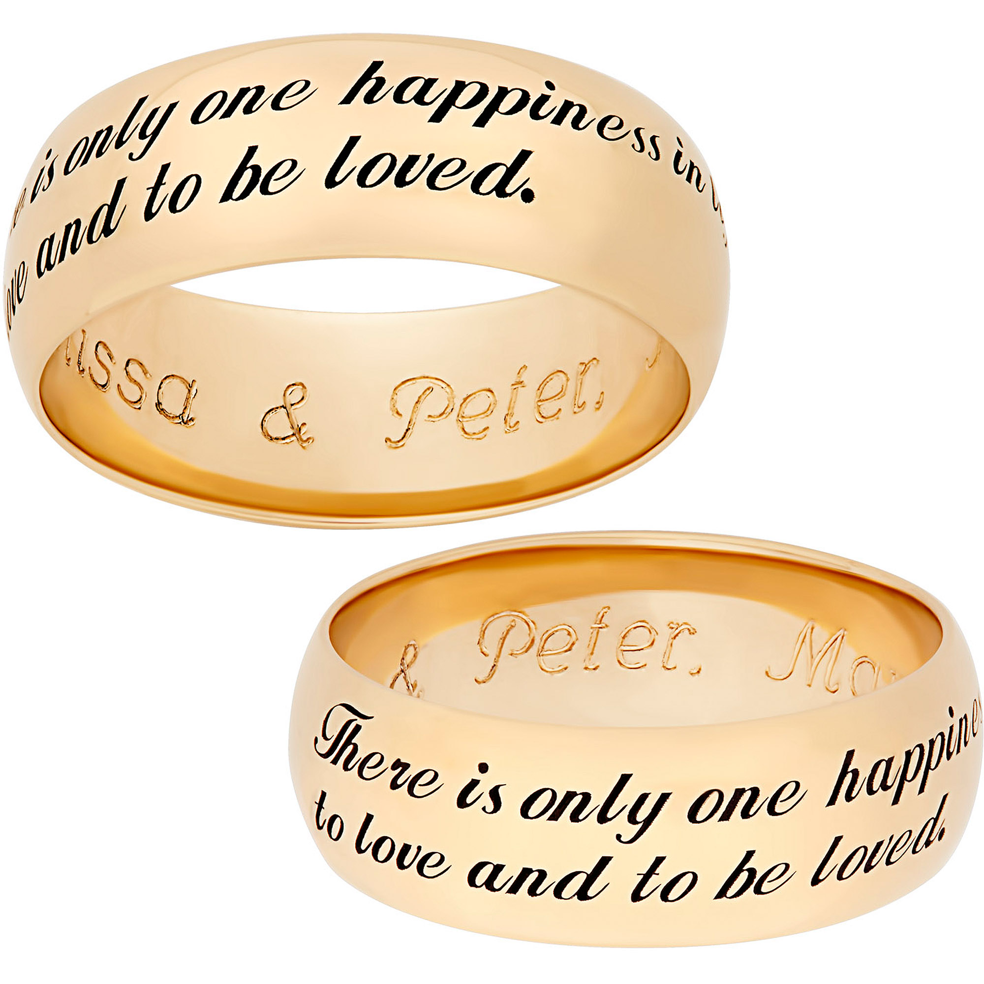 "Personalized Gold over Sterling Silver Sweet Sentiments ""There is only one happiness"" Sentiment 7mm Band"