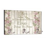 """Life - Love - Rose Wood Print - 8"""" by 16"""" Mountable Coat Hanger Rack Household Decoration with Three Double Silver Hooks"""