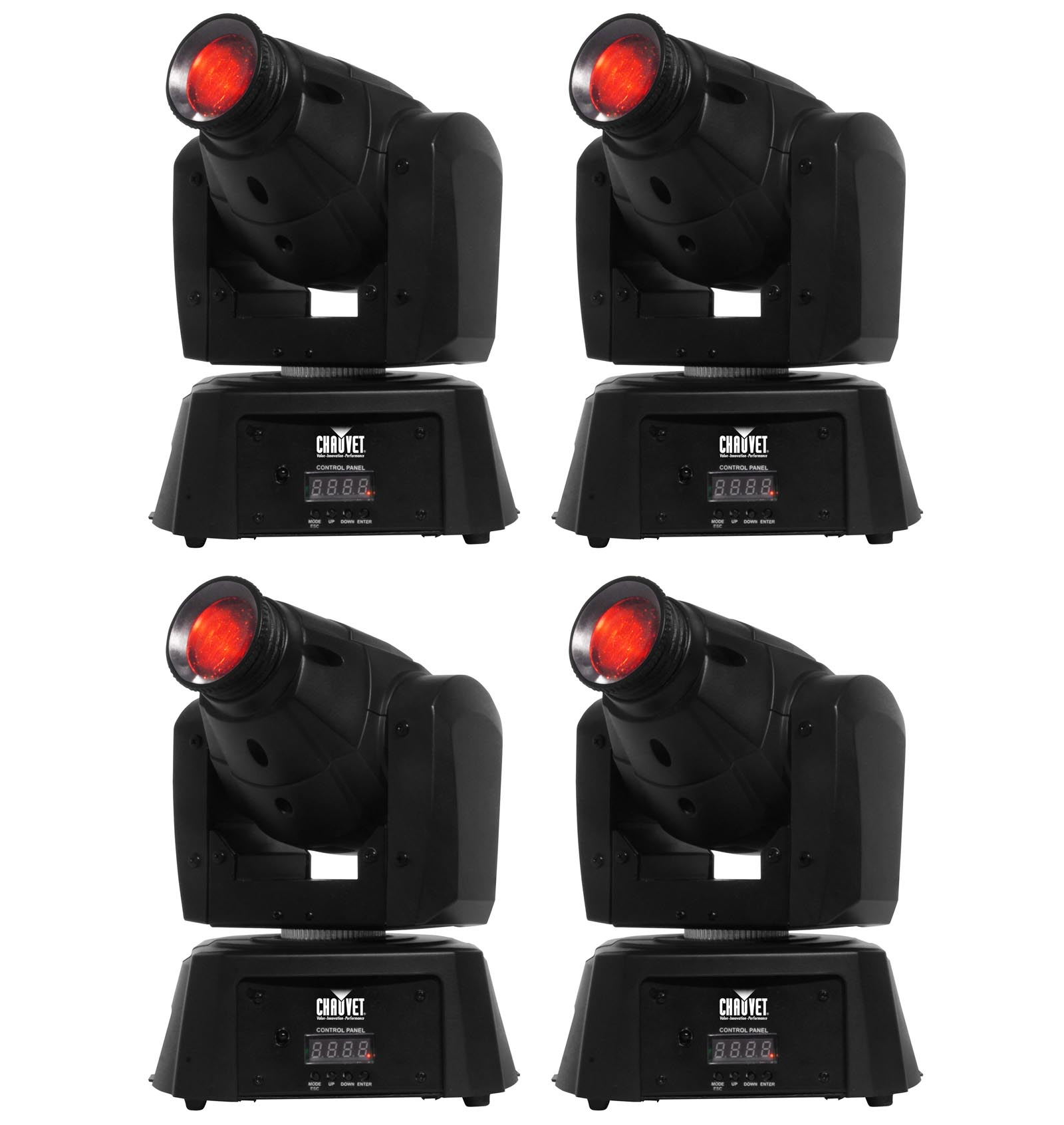 (4) CHAUVET DJ Intimidator Spot 100 IRC 7 LED Colors & Gobos Moving Head Lights