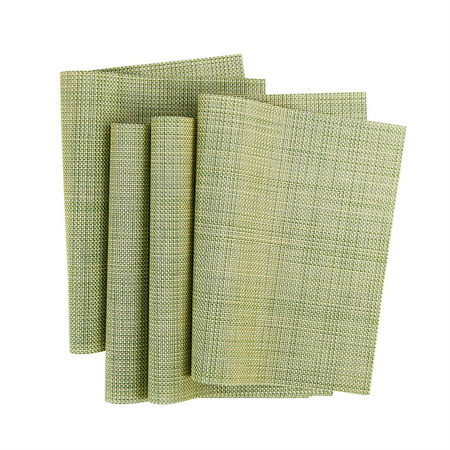Heat Resistant Non-skid Removable PVC Table Mats Woven Placemats Green 4pcs for Christmas