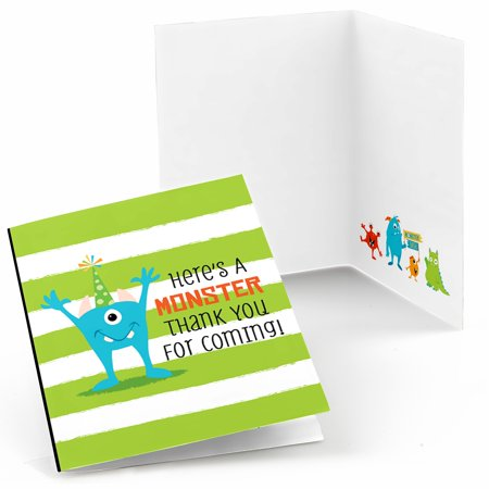 Monster Bash - Little Monster Birthday Party or Baby Shower Thank You Cards (8 count) (Monster Baby Shower)