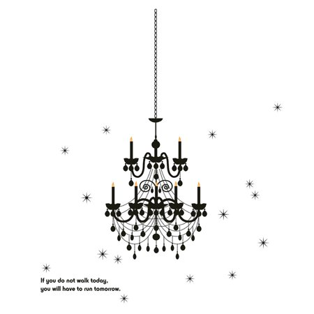 Bedroom Accent Self Adhesive Ceiling Lamp Wall Sticker Decal 60cmx90cm Black - image 1 of 1