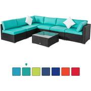 Kinbor 7pcs Outdoor Patio Furniture Sectional Pe Rattan Wicker Rattan Sofa Set with Blue Cushions