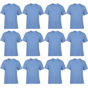 Classic Fit Men Small Adult Short Sleeve T-Shirt, Carolina Blue (12 Pack)