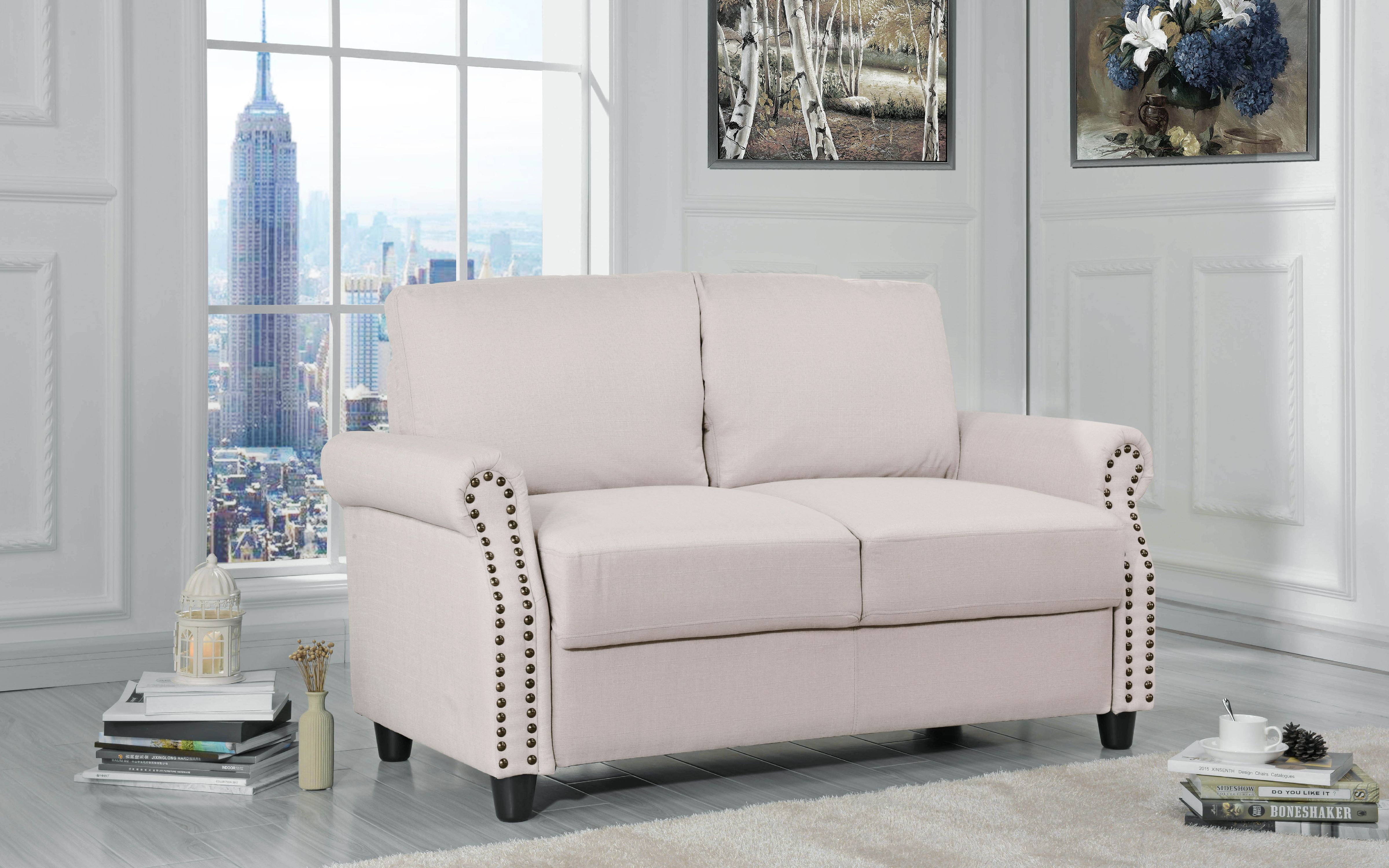 Classic Linen Loveseat with Nailhead Trim and Storage Space, Beige by Sofamania