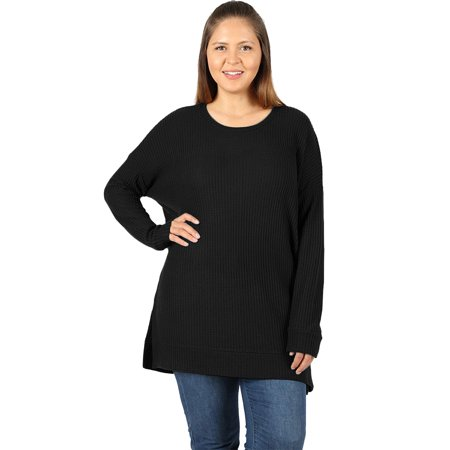 1d78d5a4ef3 JED FASHION - JED FASHION Women s Plus Size Round Neck Brushed Waffle Knit  Thermal Tunic Top - Walmart.com