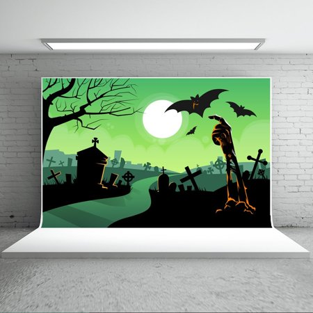 GreenDecor Polyster 7x5ft Halloween Backdrops Photography Boneyard Bats Ghost Green Background for Children Photo Booth Props (Kids Halloween Photo Booth)
