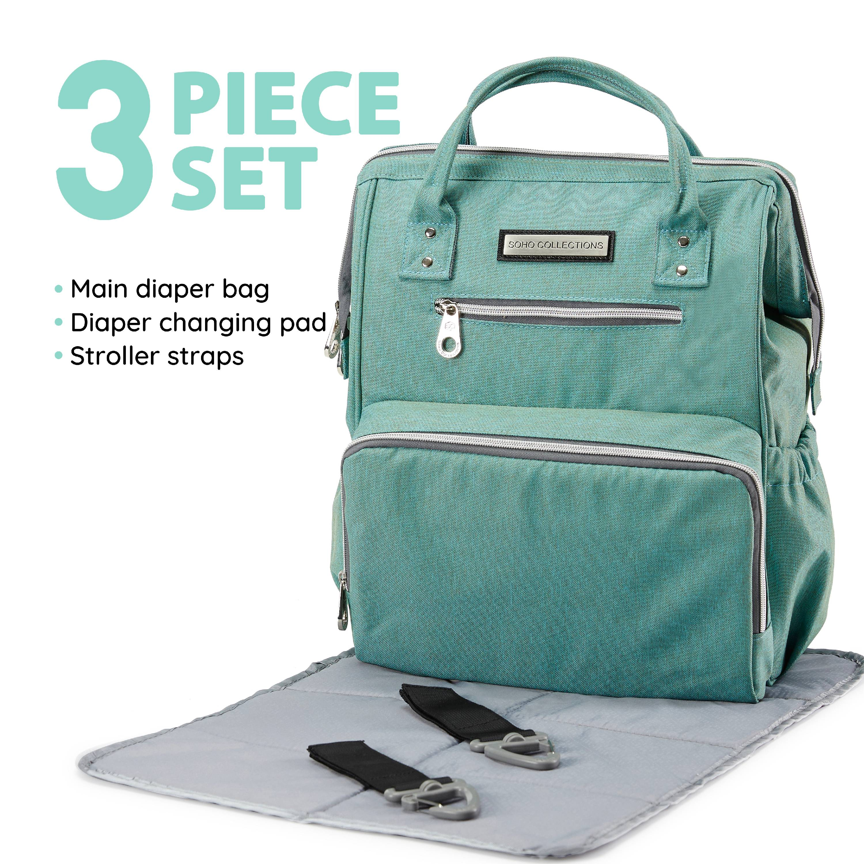 SoHo Collections, Wide Opening Unisex Diaper Bag Tote Backpack with Stroller Straps, 3 Piece Set (Apple Green)