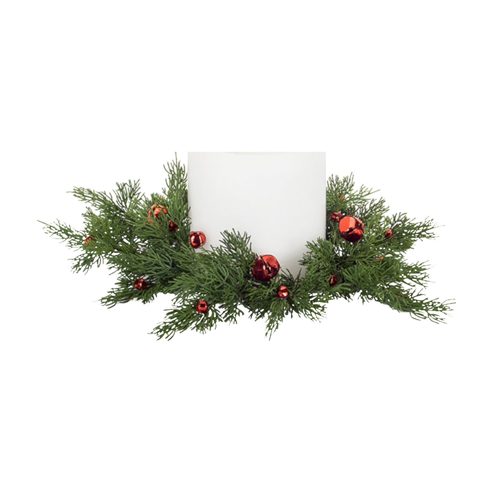 Melrose Cedar and Sleigh Bell Candle Ring for a 6 in. Candle - Set of 4