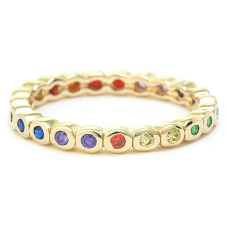 Fine Gold Plate Over Sterling Silver Rainbow CZ Eternity Band Ring - Size (Gold Cz Rings)