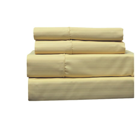 Wrinkle Free Cotton Sheets Striped 650 Thread count Collection Easy Care & Wrinkle Resistant Deep Pockets Durable Sheet ()