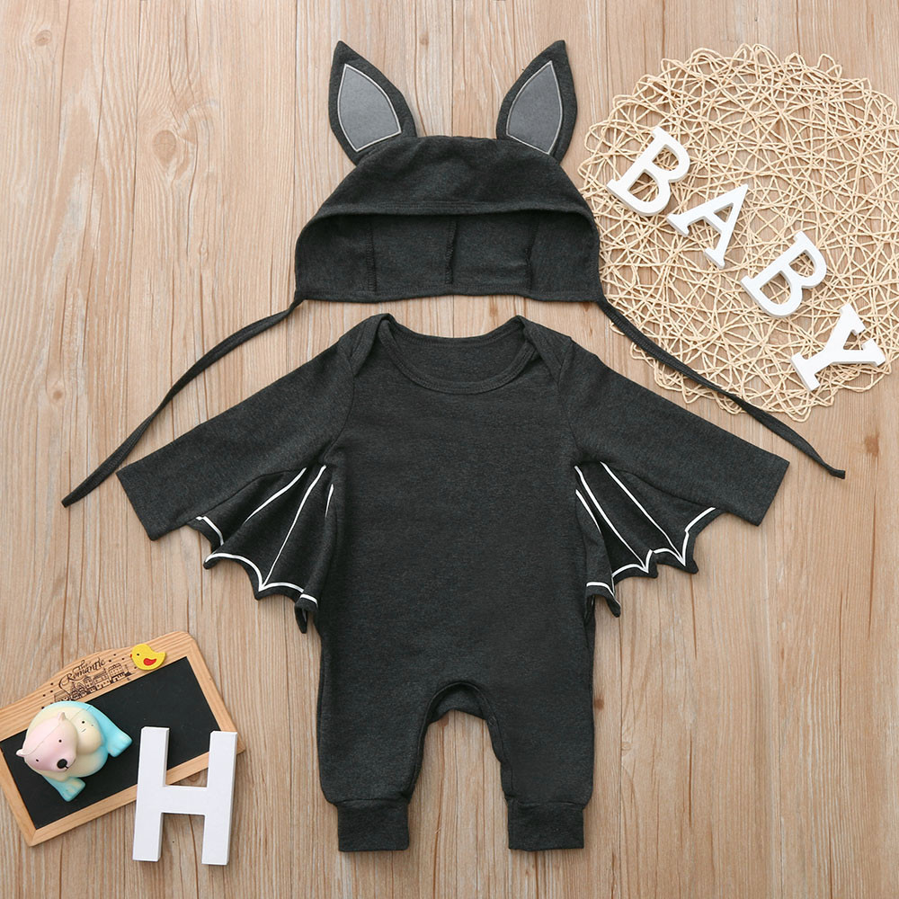 Toamen Disfraz Unisex de HalloweenToddler Newborn Baby Boys Girls Halloween Cosplay Costume Romper Hat Outfits Set