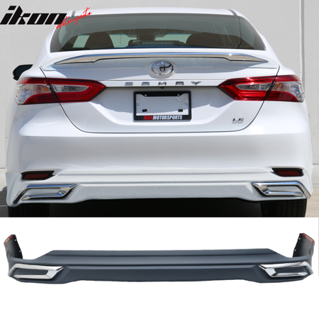 Chrome Rear Bumper Trim (Fits 18-19 Toyota Camry LE MD Style Rear Bumper Lip Diffuser With Chrome)