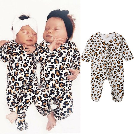 The Noble Collection Newborn Baby Girl Boy Leopard print Clothes Romper Bodysuit Jumpsuit Outfits](Childrens Leopard Print Onesie)