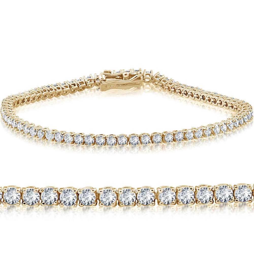 "4ct Diamond Tennis Bracelet 14K Yellow Gold 7"" - image 1 de 1"