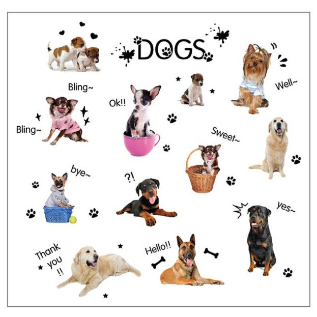 PUPPIES Dog Pet Shop Wall Sticker Art Lovely Cute Animals For Kids Baby Room