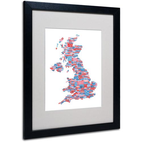 """Trademark Fine Art """"UK Cities Text Map 7"""" Matted Framed Art by Michael Tompsett"""
