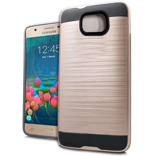 MUNDAZE Rose Gold Brushed Metal Double Case For Samsung Galaxy J7 Prime/On7 2016 Phone