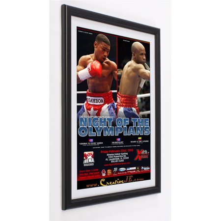 Wall-Mounted Poster Frame for 24x36 Graphics, Removable Off-White Mat, Mounts Vertically or Horizontally, With Protective PVC Lens - Polystyrene, Black (PS2436P3V2)